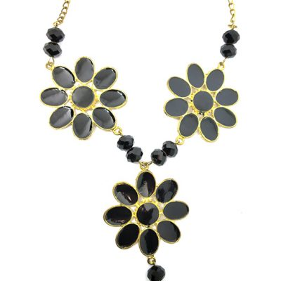 Black Golden Flower Necklace for Women