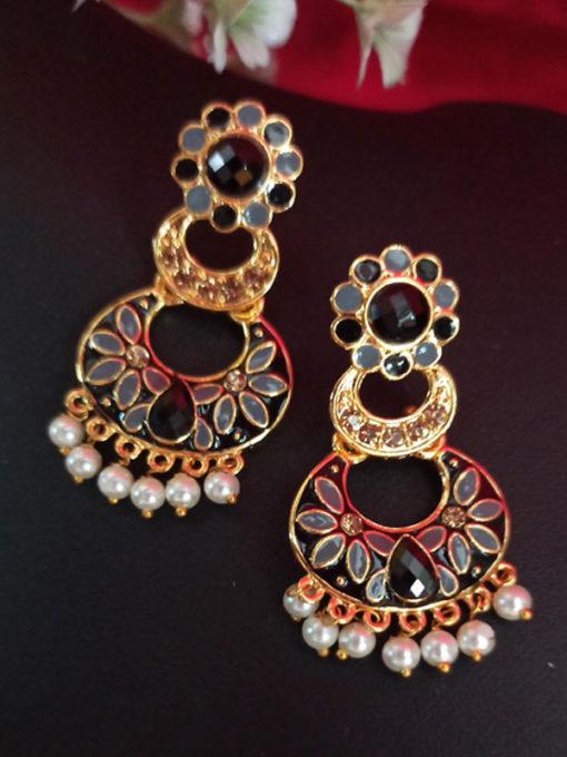 Trendilook Pink Meenakari Pearl with Stone Earring