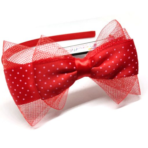 Trendilook Red Bow Ribbon and Net Hairband