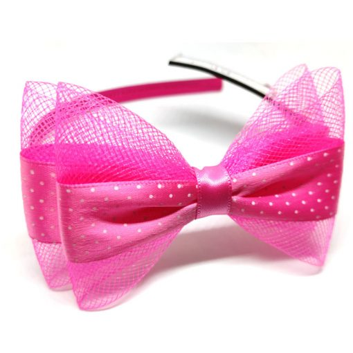 Trendilook Pink Bow Ribbon and Net Hairband