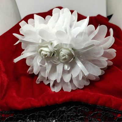Trendilook White Party Wear Double Flower Lace Hairband