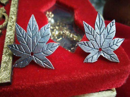 Trendilook German Silver Leaf Stud Earring