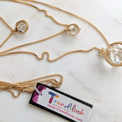 Trendilook Crystal Three Layered Gold Polished Long Chain