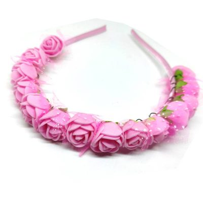 Trendilook Pink Rose Flower Decorated Tiara + Hairband for Kids