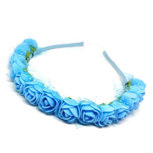 Trendilook Blue Rose Flower Decorated Tiara + Hairband for Kids