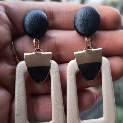 Trendilook Geometric with Leather Drop Earring