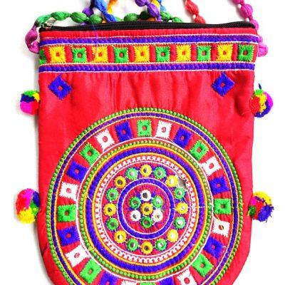 Trendilook Handmade Red Circle Big Sling Bag for Ladies and Girls