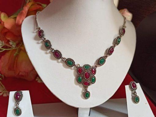 Trendilook Green Maroon Oxidized Silver Necklace Set