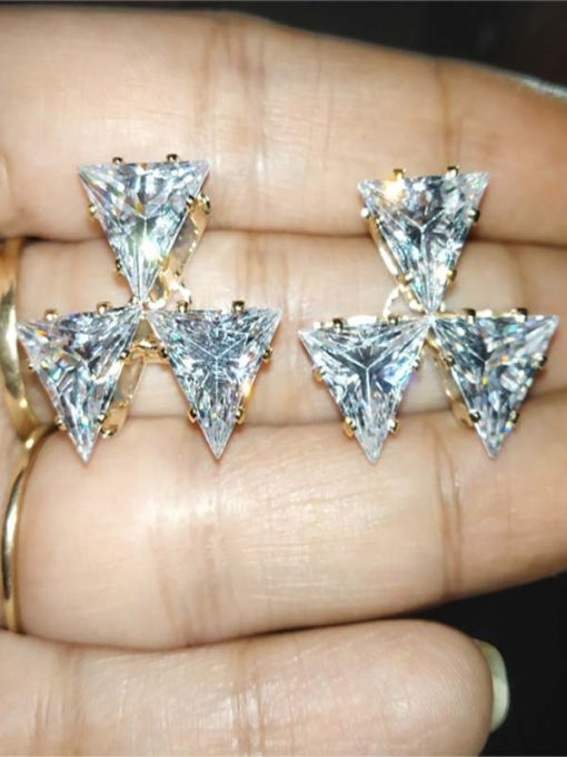 Trendilook Geometric Triangle Stud Crystal Earring