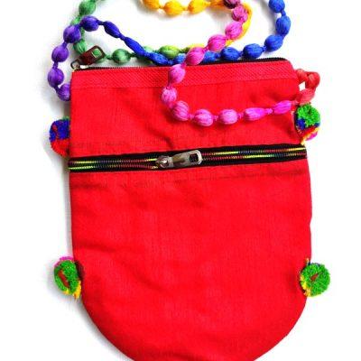 Trendilook Handmade Red Circle Sling Bag for Ladies and Girls