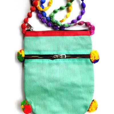 Trendilook Handmade Green Circle Sling Bag for Ladies and Girls