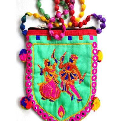 Trendilook Handmade Green Dandiya Sling Bag for Ladies and Girls