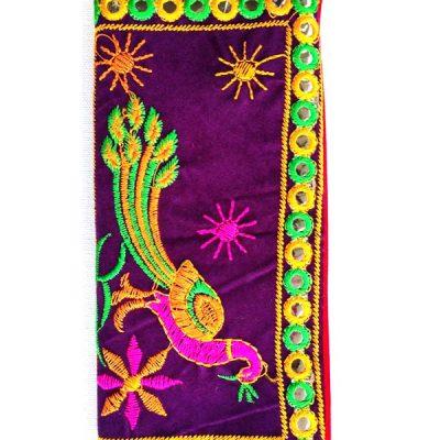 Trendilook Handmade Valvet Resham Peacock Hand Wallet for Ladies and Girls
