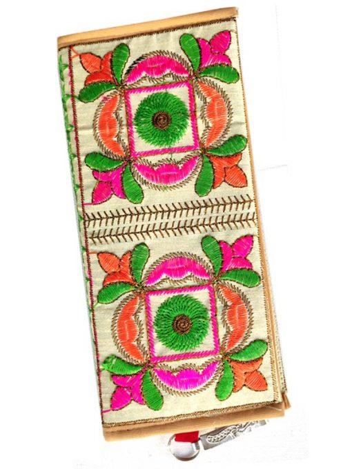 Trendilook Handmade Valvet Resham Flower Hand Wallet for Ladies and Girls