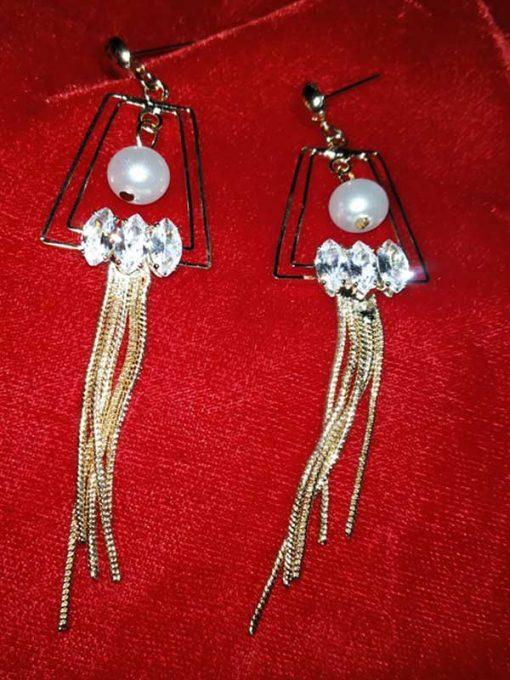 Trendilook Crystal Layered Geometric Long Party Wear Earring