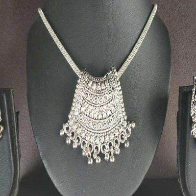 Trendilook Oxidized Silver Necklace Set