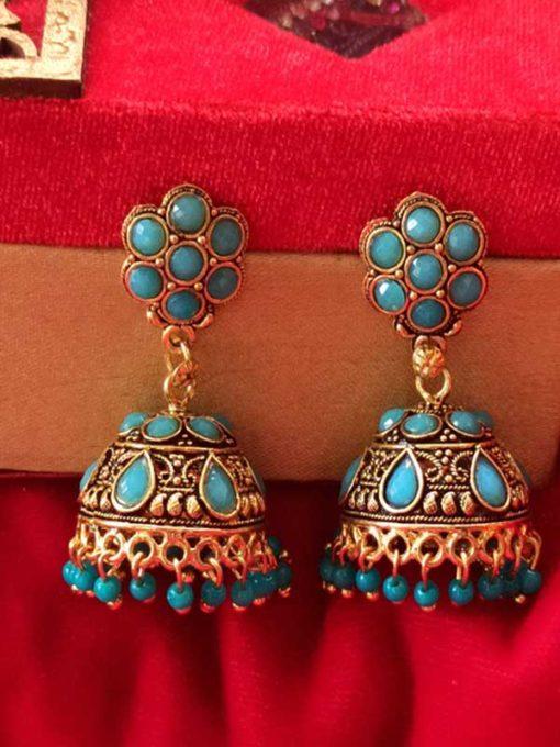 Trendilook Gold Plated Blue Kundan Jhumki