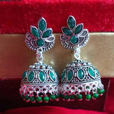 Trendilook Silver Plated Green Kundan Jhumki