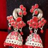 Trendilook Gold Plated Red Kundan Peacock Jhumki