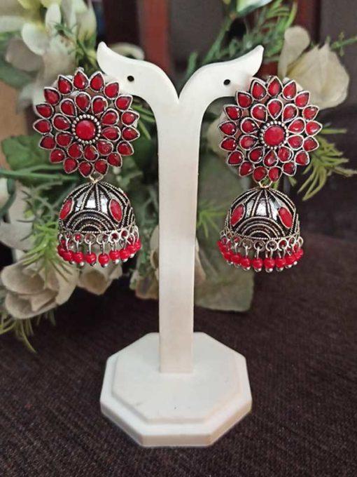 Trendilook Wedding Wear German Silver Kundan Jhumki