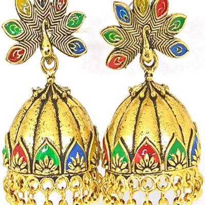 Trendilook Wedding Wear Gold Polished Meenakari Jhumki