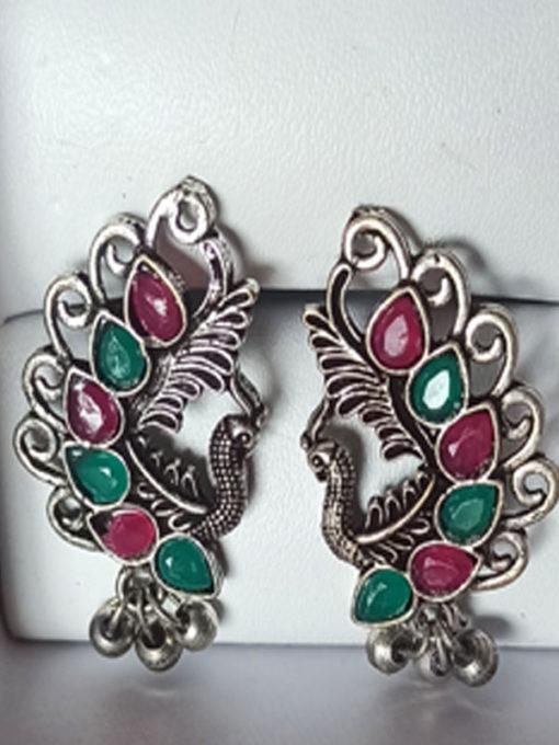 Trendilook Mayur German Silver Kundan Stud Earring