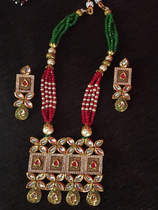 Trendilook Premium Quality Multi Color Party Wear Necklace Set
