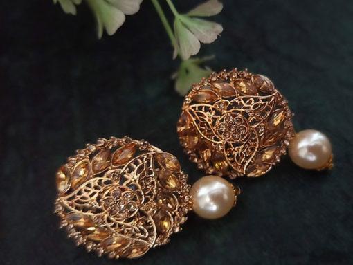 Trendilook Party Wear Gold Plated Kundan Stud Earring