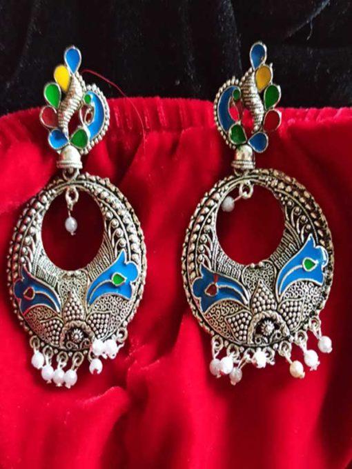 Trendilook Party Wear German Silver Meenakari Work Earring