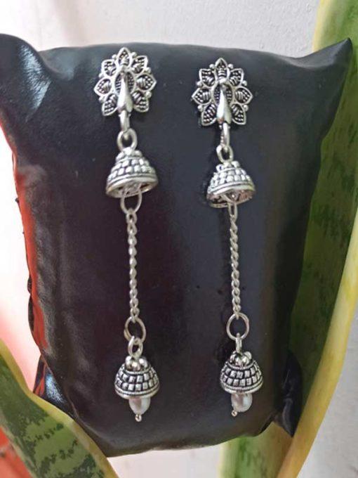 Trendilook German Silver Mayur Jhumki