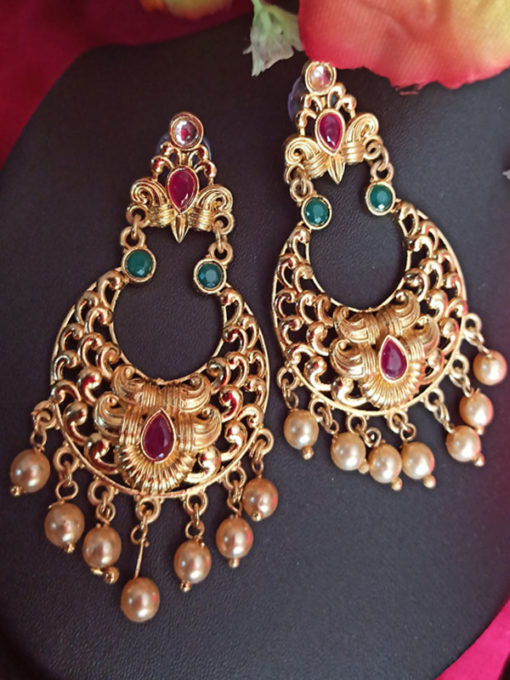 Trendilook Gold Plated Kundan Chandballi