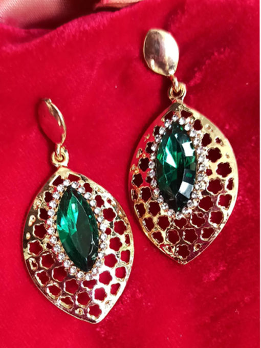 Trendilook Green Crystal Party Wear Drop Earring
