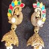 Trendilook Meenakari German Silver with Kundan work Mayur Jhumki
