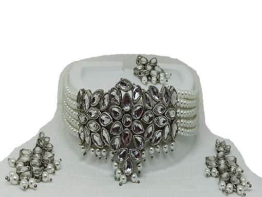 Trendilook Party Wear Pearl and Kundan Choker Necklace Set